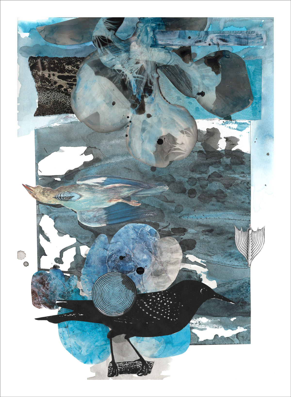 Finding Ourselves in the Blue - mixed media collage print by Dominique Hazell