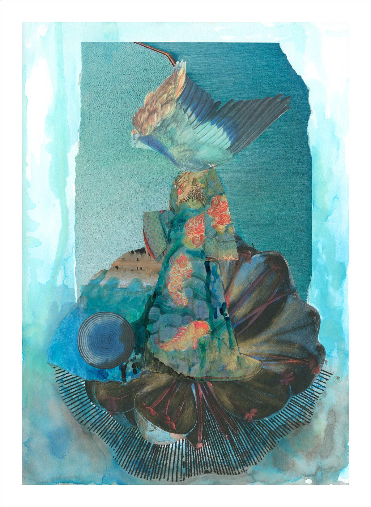 My Broken Wing of Desire - mixed media collage