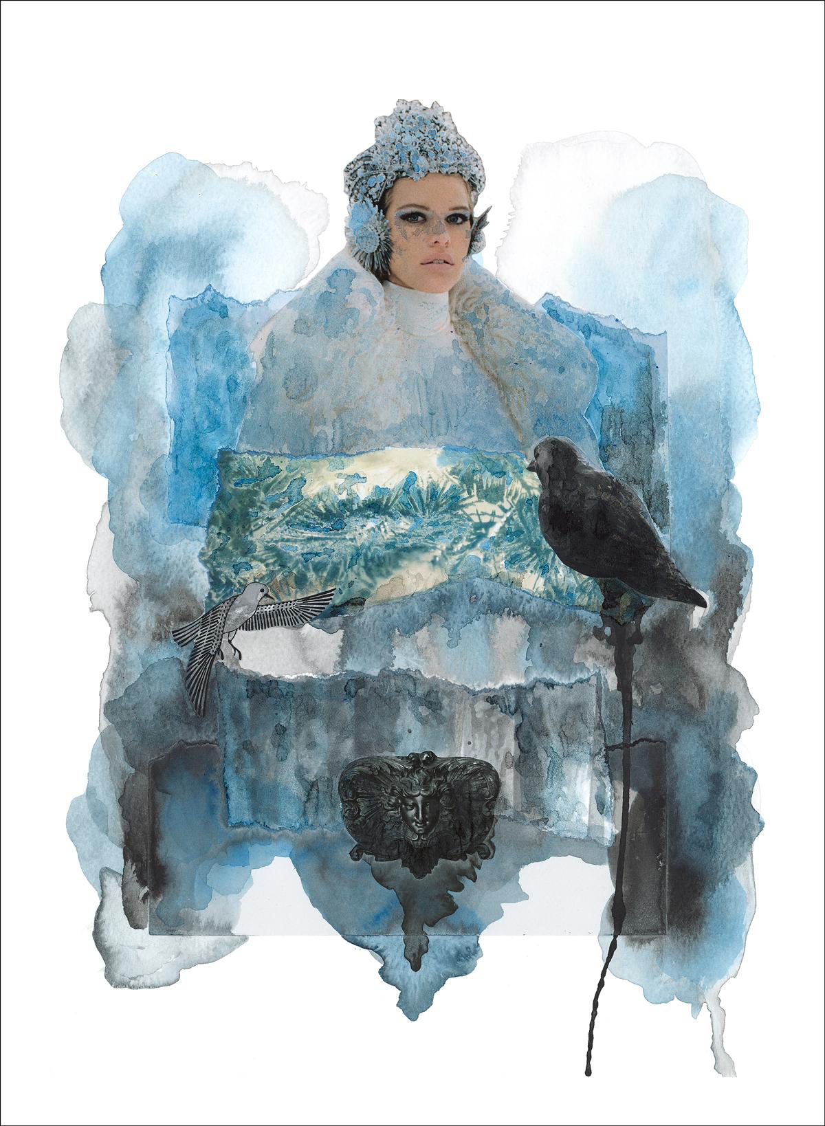 An Ode to Freyja - mixed media collage